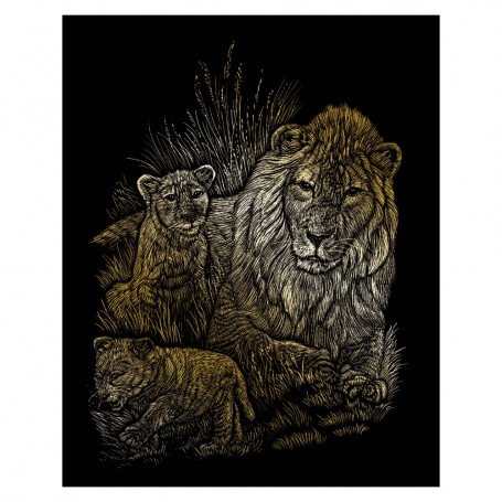 Lion & Cubs Engraving Art Kit Standard - Royal Brush - Gold Foil 20.3x25.4cm (GOLF14)