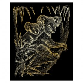 Koala Bears Engraving Art Kit Standard - Royal Brush - Gold Foil 20.3x25.4cm (GOLF17)