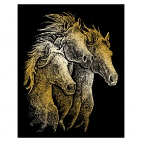 Horses Engraving Art Kit Standard - Royal Brush - Gold Foil 20.3x25.4cm (GOLF20)
