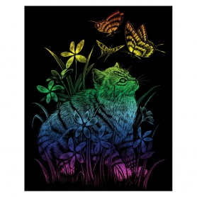 Kitten & Butterflies Engraving Art Kit Standard - Royal Brush - Rainbow Foil 20.3x25.4cm (RAIN26)