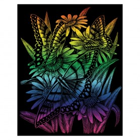 Butterflies & Daisies Engraving Art Kit Standard - Royal Brush - Rainbow Foil 20.3x25.4cm (RAIN27)
