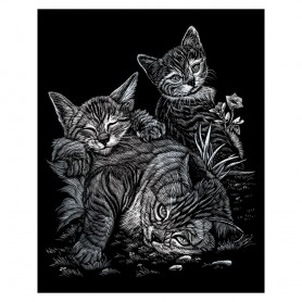 Tabby Cat & Kittens Engraving Art Kit Standard - Royal Brush - Silver Foil 20.3x25.4cm (SILF13)