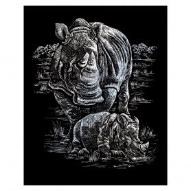 Rhinoceros & Baby Engraving Art Kit Standard - Royal Brush - Silver Foil 20.3x25.4cm (SILF21)