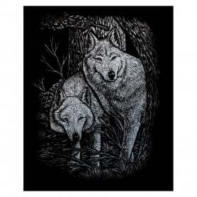 Wolves in Trees Engraving Art Kit Standard - Royal Brush - Silver Foil 20.3x25.4cm (SILF23)