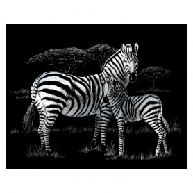 Zebras Engraving Art Kit Standard - Royal Brush - Silver Foil 20.3x25.4cm (SILF39)