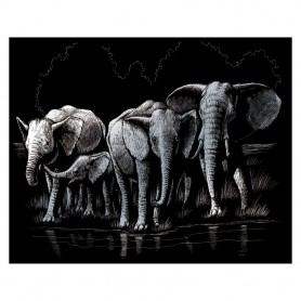 Elephant Herd Engraving Art Kit Standard - Royal Brush - Silver Foil 20.3x25.4cm (SILF40)