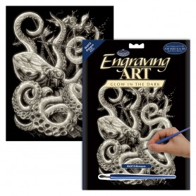 Octopus Engraving Art Kit Standard - Royal Brush - Glow in the Dark 20.3x25.4cm (GLO13)