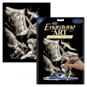 Pterodactyls Engraving Art Kit Standard - Royal Brush - Glow in the Dark 20.3x25.4cm (GLO15)