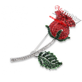"Brooch ""Rose with crystals"", length: 7cm, width: 3.3cm, color: silver, enamel, 1 pc."