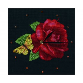 """RTO Cross-Stitch Kit - clock """"Time for Roses"""", Article: M40008"""