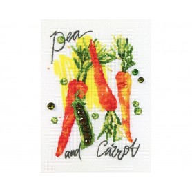 """RTO Cross-stitch kits with printed background """"Paint by Threads - Pea and carrot"""", Article: DT-C009"""