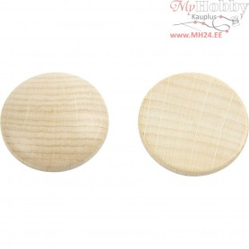 Wooden buttons, D: 30 mm, thickness 5 mm, china berry, 15pcs