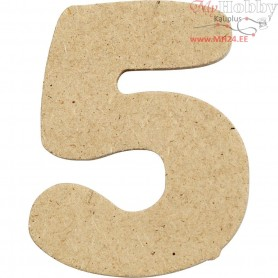 Number, 5, H: 4 cm, thickness 2,5 mm, MDF, 10pcs
