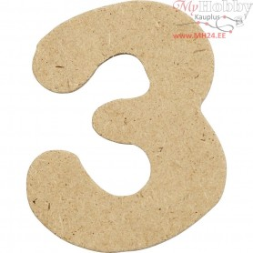 Number, 3, H: 4 cm, thickness 2,5 mm, MDF, 10pcs