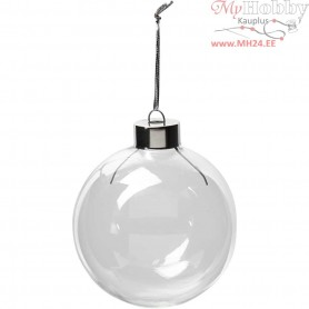 Glass Ornaments, D: 7,9 cm, H: 8,9 cm, transparent, 6pcs