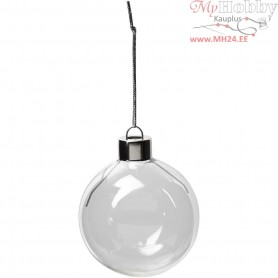 Glass Ornaments, D: 5,9 cm, H: 6,9 cm, transparent, 8pcs