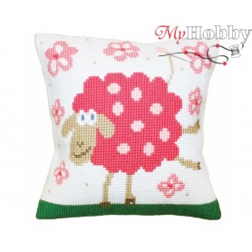 Cross Stitch Cushion Kit Cheerful lamb, Article: 5 399 Collection D'Art - size 40x40 cm.