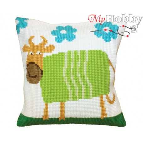 Cross Stitch Cushion Kit Cheerful cow, Article: 5 398 Collection D'Art - size 40x40 cm.