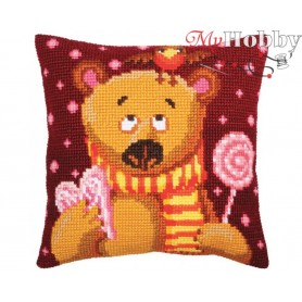 Cross Stitch Cushion Kit Candy Teddy, Article: 5 394 Collection D'Art - size 40x40 cm.