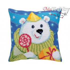 Cross Stitch Cushion Kit Candy Teddy, Article: 5 393 Collection D'Art - size 40x40 cm.