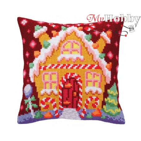 Cross Stitch Cushion Kit Gingerbread lodge, Article: 5 392 Collection D'Art - size 40x40 cm.