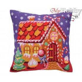 Cross Stitch Cushion Kit Gingerbread lodge, Article: 5 391 Collection D'Art - size 40x40 cm.