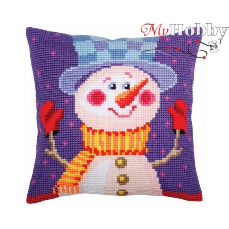 Cross Stitch Cushion Kit Cheerful snowman, Article: 5 389 Collection D'Art - size 40x40 cm.