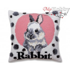 Cross Stitch Cushion Kit Rabbit, Article: 5 380 Collection D'Art - size 40x40 cm.