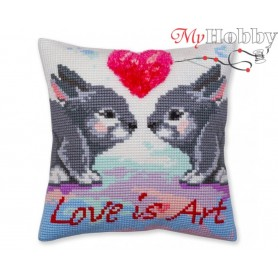 Cross Stitch Cushion Kit Love is art, Article: 5 379 Collection D'Art - size 40x40 cm.