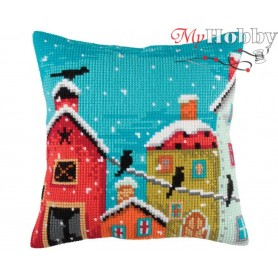 Cross Stitch Cushion Kit Winter morning, Article: 5 350 Collection D'Art - size 40x40 cm.