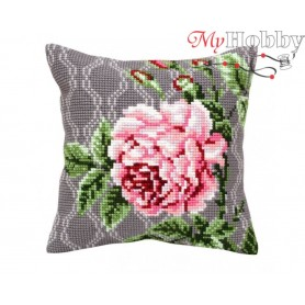 Cross Stitch Cushion Kit Tender rose, Article: 5 342 Collection D'Art - size 40x40 cm.