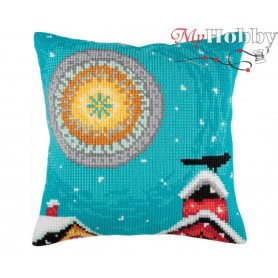 Cross Stitch Cushion Kit Winter sun, Article: 5 349 Collection D'Art - size 40x40 cm.