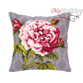 Cross Stitch Cushion Kit Tender rose, Article: 5 341 Collection D'Art - size 40x40 cm.