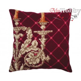 Cross Stitch Cushion Kit Candlestick, Article: 5 338 Collection D'Art - size 40x40 cm.