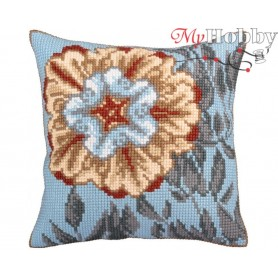 Cross Stitch Cushion Kit Asure turquoise, Article: 5 329 Collection D'Art - size 40x40 cm.