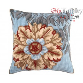 Cross Stitch Cushion Kit Asure turquoise, Article: 5 328 Collection D'Art - size 40x40 cm.