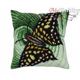 Cross Stitch Cushion Kit Butterfly graphics, Article: 5 308 Collection D'Art - size 40x40 cm.