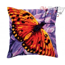 Cross Stitch Cushion Kit Butterfly graphics, Article: 5 307 Collection D'Art - size 40x40 cm.