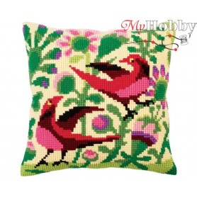 Cross Stitch Cushion Kit Birds of paradise, Article: 5 296 Collection D'Art - size 40x40 cm.