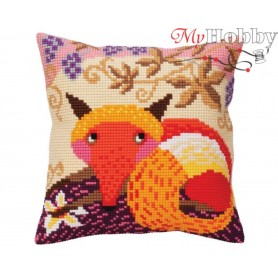 Cross Stitch Cushion Kit Fox and grape, Article: 5 397 Collection D'Art - size 40x40 cm.