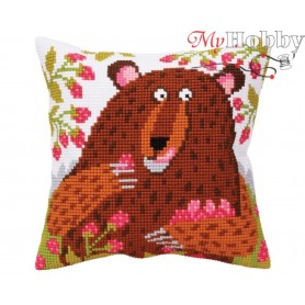 Cross Stitch Cushion Kit Bear in raspberry, Article: 5 396 Collection D'Art - size 40x40 cm.