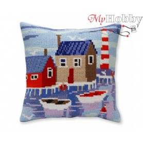 Cross Stitch Cushion Kit Serene harbor, Article: 5 388 Collection D'Art - size 40x40 cm.