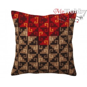 Cross Stitch Cushion Kit Peruvian ornament, Article: 5 369 Collection D'Art - size 40x40 cm.