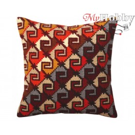 Cross Stitch Cushion Kit Peruvian ornament, Article: 5 368 Collection D'Art - size 40x40 cm.