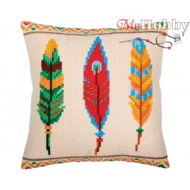 Cross Stitch Cushion Kit Plumelets for dreamcatcher, Article: 5 364 Collection D'Art - size 40x40 cm.