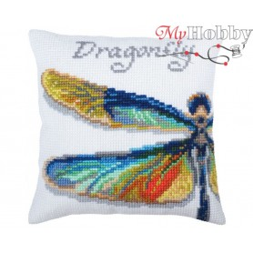 Cross Stitch Cushion Kit Dragonfly, Article: 5 363 Collection D'Art - size 40x40 cm.