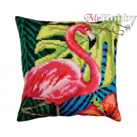 Cross Stitch Cushion Kit Pink flamingo, Article: 5 361 Collection D'Art - size 40x40 cm.