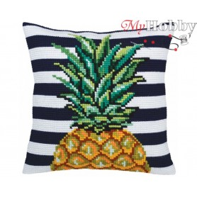 Cross Stitch Cushion Kit Pineapple, Article: 5 359 Collection D'Art - size 40x40 cm.