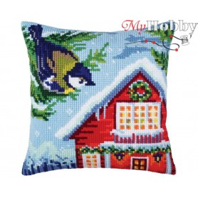 Cross Stitch Cushion Kit Before Christmas, Article: 5 351 Collection D'Art - size 40x40 cm.