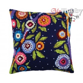 Cross Stitch Cushion Kit In blossom, Article: 5 348 Collection D'Art - size 40x40 cm.